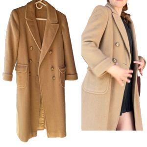Vintage Tan Long Overcoat Wool Coat Merin